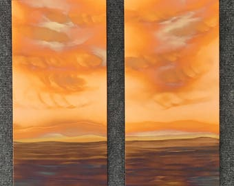 "Landscape Pair, 2- 7.5"" x 15"", Copper Fire Paintings"