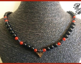 Bronze and red agate onyx semi precious stone necklace, made entirely by hand.
