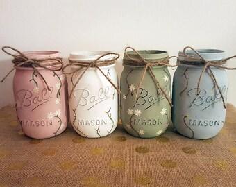 Flower Print Mason Jars, Floral Print Mason Jars, Pint Size Mason Jars, Boho Mason Jars, Hand Painted Mason Jars, Mason Jar Decor, Decor