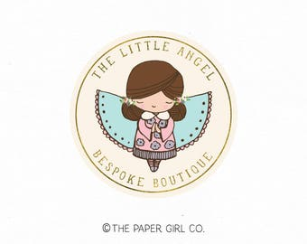angel logo fairy logo children's logo baby shop logo premade logo photography logo boutique logo pre made logo little girl logo watermark