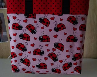 Girls Lady Bug Tote Bag Library Bag Preschool Bag Reusable Tote