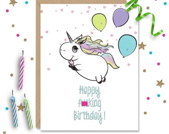 Mature Happy F'n Birthday, Funny Birthday Card, Adult Greeting Card, Handmade Greeting, Birthday Card, Sassy Greeting, FourLetterWordCards