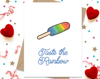 Taste the Rainbow, Funny Greeting Card, Gay Greeting Card, Rainbow Card, LGBTQ, Gay Pride, Card for Husband, Card for Boyfriend