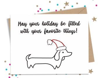Funny Holiday Card, Funny Christmas Card, Dog Lover Gift, Wiener Dog Card, Holiday Cards, Christmas Cards, Funny Greeting Card, Happy Holida