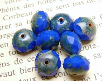 10 beads Czech glass, cobalt blue 6x8mm R816 picasso finish