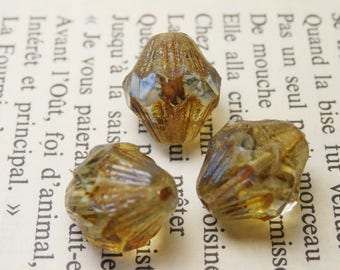 4 large Baroque pearls, Czech glass, amber BN7 13X11mm