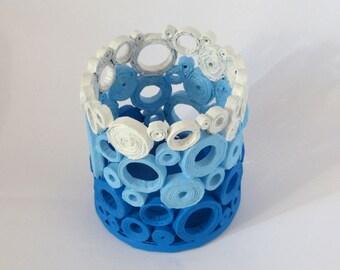 Ocean Blue Rolled Paper Vase Handmade Planter Home Dècor Basket