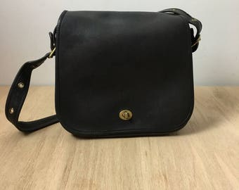 Vintage Coach, Stewardess Bag, Black Leather, Crossbody Bag, Made in NYC, Leather Coach bag
