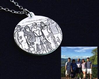 Photo Necklace,Engraved Photo Necklace,Custom Picture Necklace,Portrait Necklace,Engraved Photo Keepsake