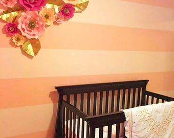 10 Piece Paper Flower backdrop, bridal shower, baby shower, wall decor, kids room, teen room, flowers