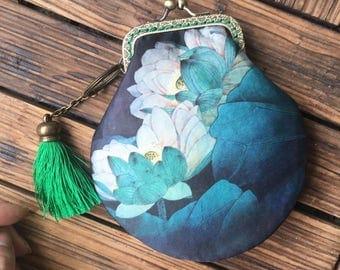 Handmade Sewing handbag Kit/DIY Purse Kit/Floral Pattern/size: 16*15cm