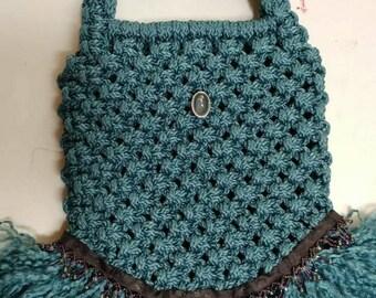 Denim Blue Tutu Ballet Macrame Purse Handbag