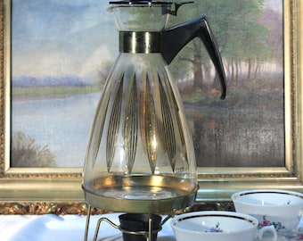 Pyrex Glass Coffee Carafe with Candle Warmer, 12 cup 1960s Retro Kitchen