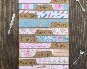 Recipe Card Dividers 3x5, 4x6, Boho, Rustic, Floral