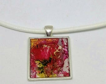 "white cord with ""art"" ""Energy"" pendant necklace"