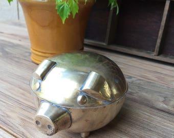 Brass Pig Stash Box Brass Pig Desk Accessory Brass Pig Trinket Box   ReFabulousReVamped  ReFabulous