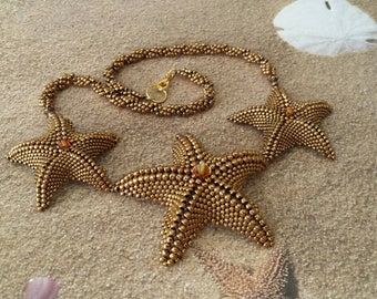 Starfish necklace made with Bronze metallic seed beads