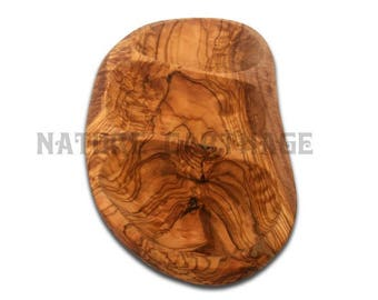 Small dish with 3 compartments drizzler 20 cm. Olive wood dish