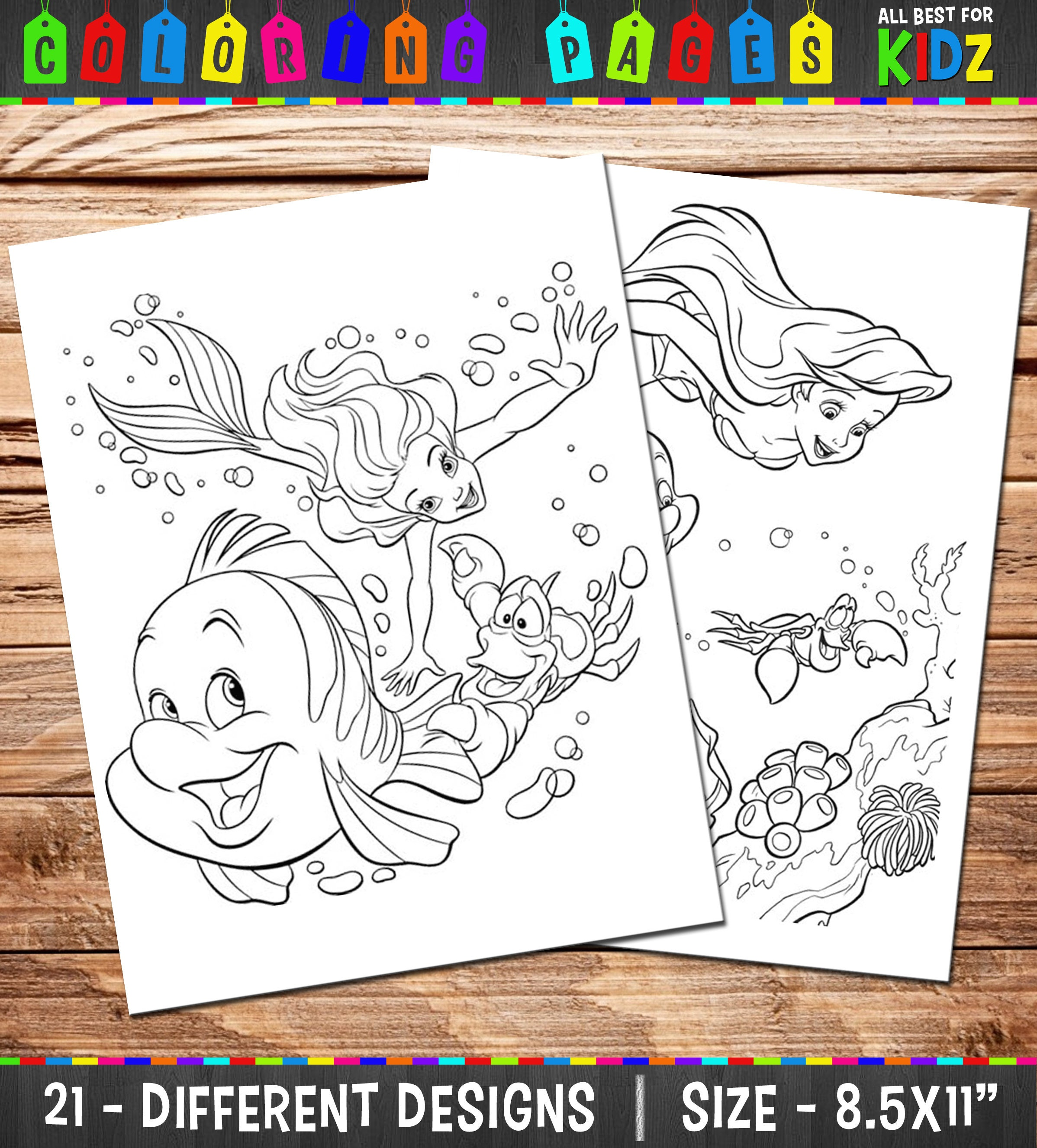 Disney The Little Mermaid 21 Coloring Pages / Party games