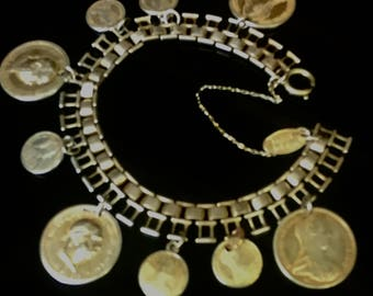 Gold Miriam Haskell Coin Bracelet
