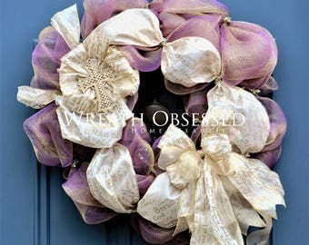 Purple Easter Wreath , Religious Wreath , Ivory Gold Easter Wreath , Easter Wreath , Christian Home Decor , Christian Housewarming Gift