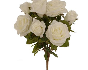 "New Silk White Rose Bush,  9-2"" to 3.5"" Blooms, White Roses for DIY White Bouquet"