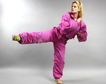 Pink Ski suit, Vintage Snow suit, 80s WATERPROOF Snowsuit. Skiing Overall, Winter One Piece Snowboarding suit, Winter Sport Jumpsuit Sz S/ M