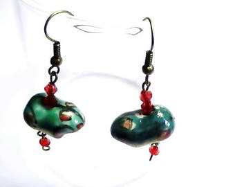 Ceramic earrings green frogs