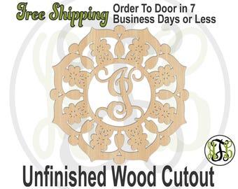 Mandala with Monogram- 990018M1- Cutout, unfinished, wood cutout, wood craft, laser cut wood out, wood cut out, wooden sign, Door Hanger
