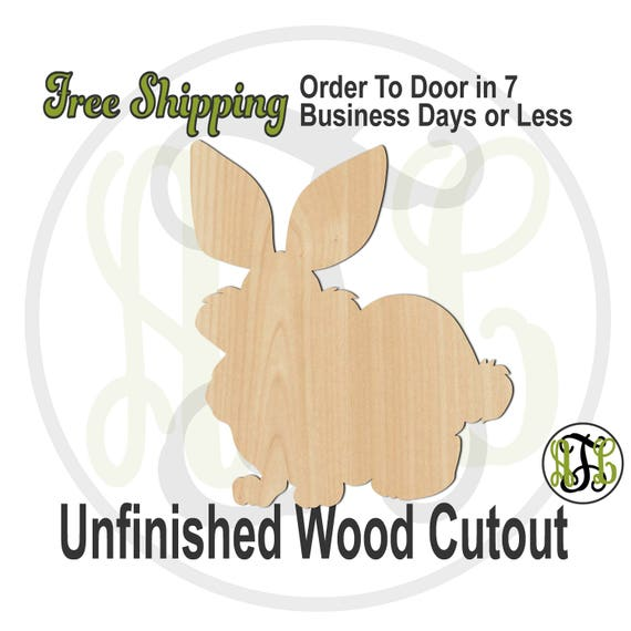 Fluffy Bunny - 140017- Easter Cutout, unfinished, wood cutout, wooden, laser cut wood, wood cut out, Door Hanger, wreath accent