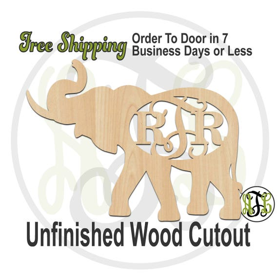 Elephant with Tusk Monogram- 230112M3- Animal Cutout, 3-Letter, unfinished, wood cutout, wood art, laser cut, wood cut out, wooden, Alabama