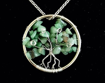 Natural River Stone Gemstone Tree of Life Pendant