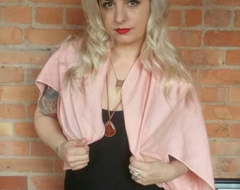 Linen shawl, pink linen wrap, linen blend cape, pink linen shawl, summer cover up, bathing suit cover up