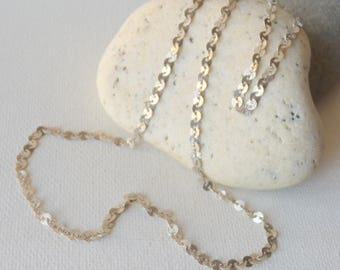 Sterling Silver Disc Chain, Delicate Coin Link Chain Necklace, Silver Tinsel Chain 925  Unique Sequin Necklace, Geometrical Retro Chain 60's