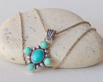 Sterling Silver Genuine Turquoise Pendant Silver Chain Necklace, Vintage Turquoise Gemstone Green Turquoise Silver Turquoise Jewelry 925