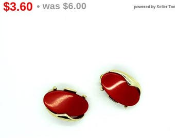 Pinkish Red Thermoset Clip on Earrings