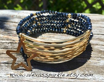 Shimmer Black Beaded Bracelet with gold plated connectors - Pulsera Semanario  color negro diamantado con conectores de laminado de oro