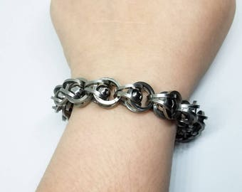 Stainless Steel Captured Ball Bearing Chainmaille Unisex Chunky Bracelet Large