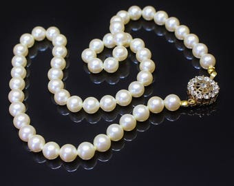 Vintage Faux Pearl Necklace Black Rhino Design Hand Made S/Strand Soft Lustre Ivory Colour Medium Pearls Rhinestone Pinwheel Clasp