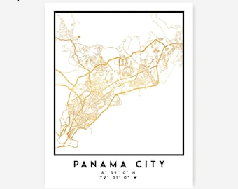 Panama City Map Coordinates Print - Panama City Street Map Art Poster, Gold Panama City Map Print, Panama City Coordinates Poster Map Print