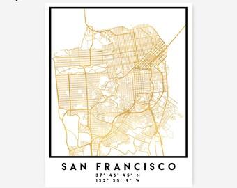 San Francisco Map Coordinates Print - California Street Map Art Poster, Gold San Francisco Map San Francisco California Bay Area Coordinates