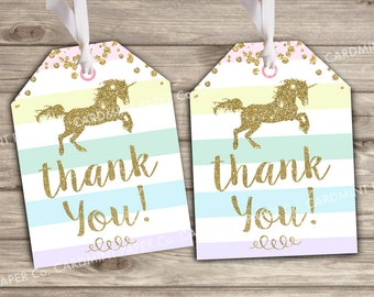 Unicorn Tags Thank You Gift Tags Birthday Favor Tags TT1343