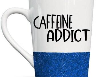 Caffeine Addict Glitter Ceramic Coffee Mug! 14 oz!