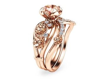 Unique Morganite Engagement Ring Set 14K Rose Gold Morganite Rings Floral  Engagement Rings