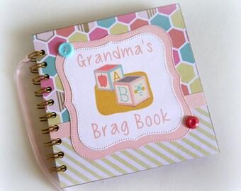 Grandma's Brag Book premade scrapbook album great for new baby gift new grandparent baby shower sip n see baby sprinkle gift 904