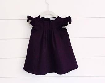purple Toddler Dress, Flutter Sleeve Dress, purple Baby Dress, Plum Girls Dress, toddler Dress, occasion Dress, baby dress