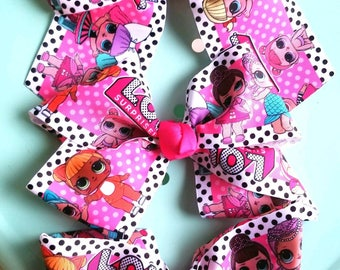 LoL Surprise Dolls/LoL Surprise Doll Birthday Party Favors/LoL Inspired Bows & Clips/Hair Accessories/Big Bows/Rainbow Bow/Jojo Bow