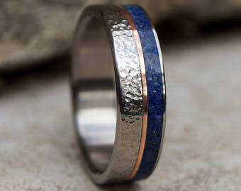 Titanium ring copper and lapis lazuli