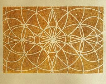 Geometric linoprint in yellow ochre