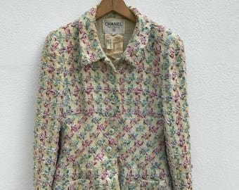 Vintage Chanel Boutique Tweed Jacket Made in France Size 40